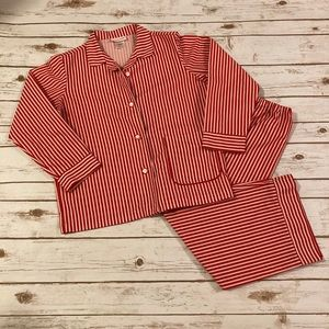 American Girl Red/White Striped Big Girl Pajamas L
